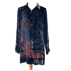 Chicos Silk Blend Velvet Geisha Button Up Tunic S